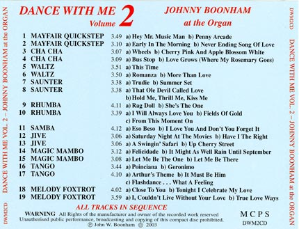 This C.D. has 19 tracks, all in Sequence for Dancing.